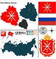 Map of Oblast of Tula vector image vector image