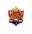 minimalist basketball fire emblem team shield logo vector image vector image