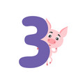 number three with cute cartoon pig isolated on vector image vector image