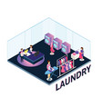 people in laundry working around isometric artwork vector image