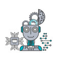 robot artificial intelligence brain gears vector image vector image
