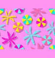 seamless pattern with beach umbrellas and palm vector image vector image