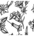 seamless pattern with black and white gentiana vector image vector image