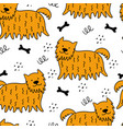 seamless pattern with hand-drawn dogs vector image vector image