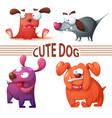 set color dog cute vector image vector image