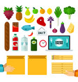 set delivery food online icons flat vector image vector image