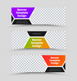 set horizontal web banners with hexagon shapes vector image