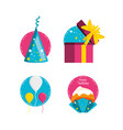 set of accessories on birthday party vector image vector image