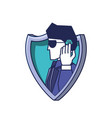 shield with cyber security agent vector image vector image