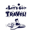 travel icon happy man traveling by airplane vector image