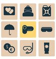 travel icons set with parasol vr spectacles vector image vector image