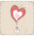valentine card with heart and engagement ring vector image vector image