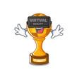 virtual reality soccer trophy in cartoon vector image vector image