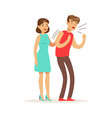 woman helping a choking man first aid vector image vector image