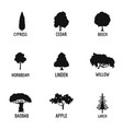 wood industry icons set simple style vector image