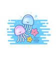 jellyfish and starfish vector image