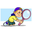 boy holding a magnifier vector image