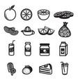 orange fruit and product icons set vector image