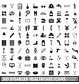 100 disabled healthcare icons set simple style vector image vector image