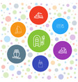 7 vessel icons vector image vector image