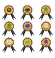 badge with halloween characters icon playful vector image