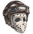 cartoon scary goalie hockey mask with helmet vector image vector image