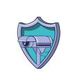 cctv camera in shield secure vector image vector image