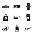 Check at airport icons set simple style vector image vector image