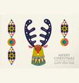 christmas and new year folk art deer greeting card vector image vector image