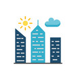 city building flat icon vector image vector image