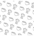 coffee cup and kettle background vector image vector image