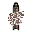 color vintage books shop emblem vector image