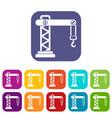 crane icons set vector image vector image