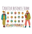 Creative business team posts and avatars icons vector image