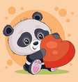 cute little panda character holds big red heart in vector image vector image