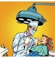 Dentist treats teeth boy vector image