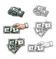 dollars and hand with money sketch icons vector image