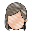 drawing head girl faceless character image vector image vector image