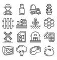 farm and farmer icons set on white background vector image
