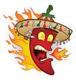 flaming sombrero chili pepper cartoon vector image vector image