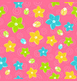 floral seamless pattern in doodle style on pink vector image