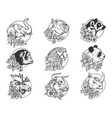flowers and animals set sketch vector image vector image