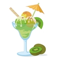 Glass with ice cream kiwifruit and nuts vector image vector image