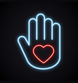 glowing neon hand with heart sign bright charity vector image vector image