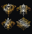 gold lotus logo art set design vector image