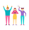 happy people at birthday party isolated vector image vector image