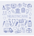 health care set on notebook sheet vector image vector image
