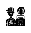 hip hop music black glyph icon vector image