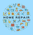 home repair circle infographics construction icon vector image vector image