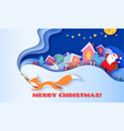 horizontal banner merry christmas with fox running vector image